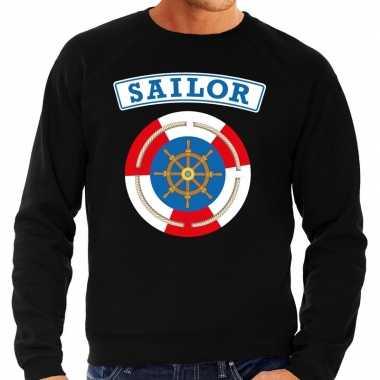 Verkleedkleding zeeman/sailor verkleed sweater zwart heren tip