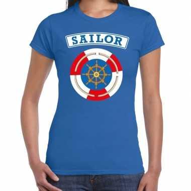 Verkleedkleding zeeman/sailor verkleed t shirt blauw dames tip