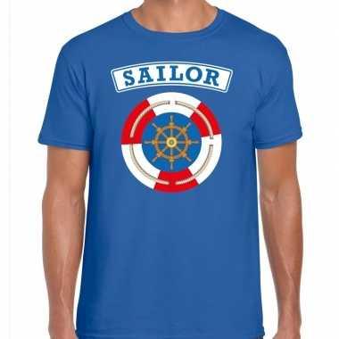 Verkleedkleding zeeman/sailor verkleed t shirt blauw heren tip