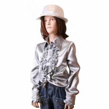 Verkleedkleding  Zilveren disco blouse meisjes tip