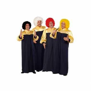 Verkleedkleding  Zwart gouden gospel toga tip