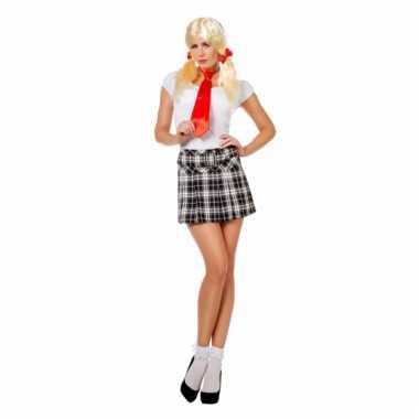 Verkleedkleding  Zwart witte Schotse kilt dames tip