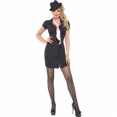 Verkleedkleding  Zwarte carnavals gangster jurk tip