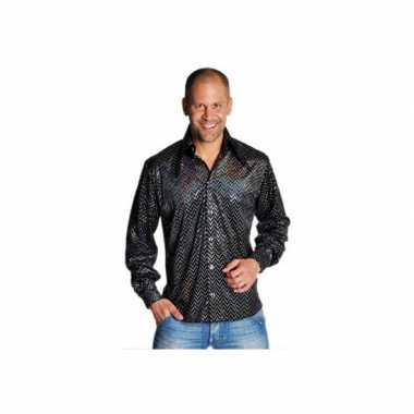Verkleedkleding  Zwarte glamour blouse mannen tip