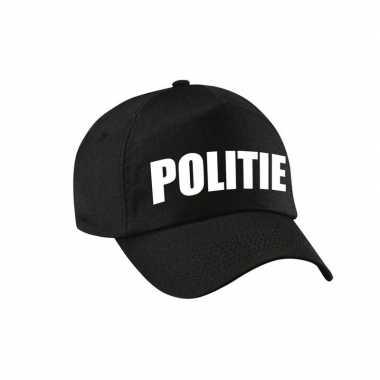 Verkleedkleding zwarte politie agent verkleed pet / cap kind tip