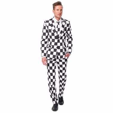 Verkleedverkleedkleding heren zwart wit geblokt 3 delig tip