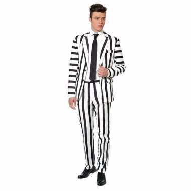 Verkleedverkleedkleding heren zwart wit gestreept tip