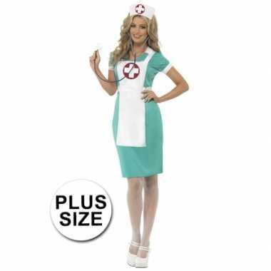 Verpleegster verkleedkleding grote maat schort tip