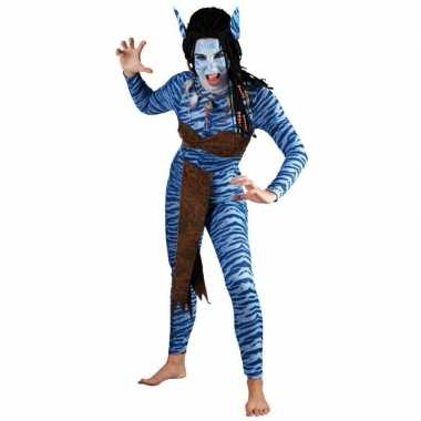 Vrouwen carnavalsverkleedkleding Blauwe jungle strijdster tip