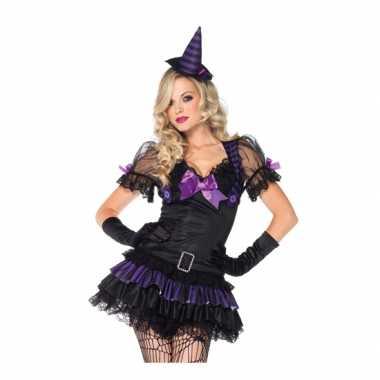 Zwart heksen verkleedkleding hoedje tip