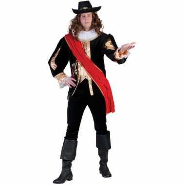 Zwart kapiteinsverkleedkleding heren tip