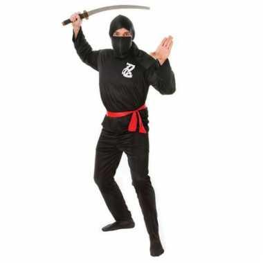 Zwart ninja verkleedkleding rode riem tip