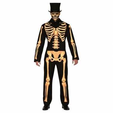 Zwart/oranje skelet verkleed verkleedkleding heren tip