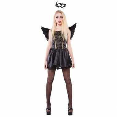 Zwarte engel dames verkleedkleding tip
