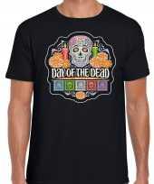 Day of the dead dag doden halloween verkleed t shirt verkleedkleding zwart heren
