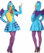 Dierenverkleedkleding blauwe draak verkleed verkleedkleding jurk dames