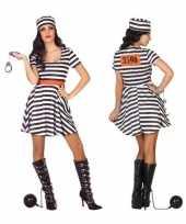 Gevangene boef bonnie verkleed verkleedkleding jurk dames