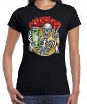 Verkleedkleding cheers proost skelet halloween verkleed t shirt zwart dames