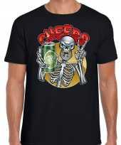 Verkleedkleding cheers proost skelet halloween verkleed t shirt zwart heren