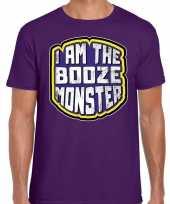 Verkleedkleding halloween booze monster verkleed t shirt paars heren