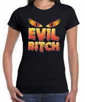 Verkleedkleding halloween evil bitch verkleed t-shirt zwart dames