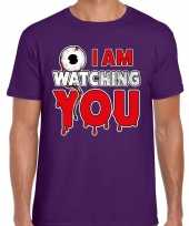 Verkleedkleding halloween i am watching you verkleed t shirt paars heren