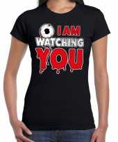 Verkleedkleding halloween i am watching you verkleed t shirt zwart dames
