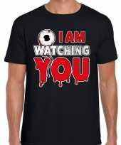 Verkleedkleding halloween i am watching you verkleed t shirt zwart heren