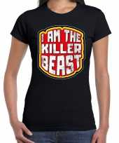 Verkleedkleding halloween killer beast verkleed t shirt zwart dames