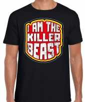 Verkleedkleding halloween killer beast verkleed t shirt zwart heren