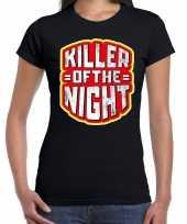 Verkleedkleding halloween killer of the night verkleed t shirt zwart dames