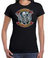 Verkleedkleding halloween rock roll skelet verkleed t shirt zwart dames
