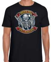 Verkleedkleding halloween rock roll skelet verkleed t shirt zwart heren