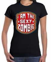 Verkleedkleding halloween sexy zombie verkleed t shirt zwart dames