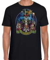 Verkleedkleding halloween voodoo skelet verkleed t-shirt zwart heren