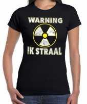 Verkleedkleding halloween warning ik straal verkleed t-shirt zwart dames