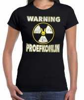 Verkleedkleding halloween warning proefkonijn verkleed t-shirt zwart dames