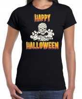 Verkleedkleding happy halloween horror mummie verkleed t shirt zwart dames