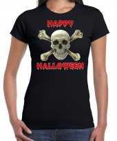 Verkleedkleding happy halloween horror schedel verkleed t shirt zwart dames