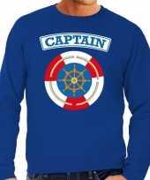 Verkleedkleding kapitein captain verkleed sweater blauw heren