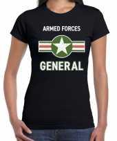Verkleedkleding landmacht armed forces verkleed t-shirt zwart dames