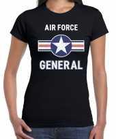 Verkleedkleding luchtmacht air force verkleed t shirt zwart dames