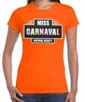 Verkleedkleding miss carnaval verkleed t shirt oranje dames
