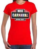 Verkleedkleding miss carnaval verkleed t shirt rood dames