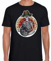 Verkleedkleding original gangster skelet halloween verkleed t shirt zwart heren