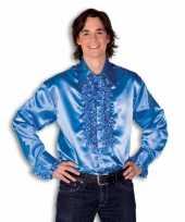 Verkleedkleding satijnen overhemd blauw heren
