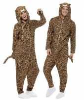 Verkleedkleding tijgertjes onesie volwassenen