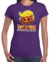 Verkleedkleding trumpkin make halloween great again t shirt paars dames
