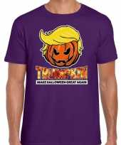 Verkleedkleding trumpkin make halloween great again t shirt paars heren