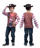 Verkleedkleding western t shirt kind